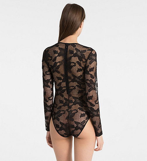 CALVINKLEIN Bodysuit - CK Black Lily Lace - BLACK - CALVIN KLEIN NEW FOR WOMEN - detail image 1