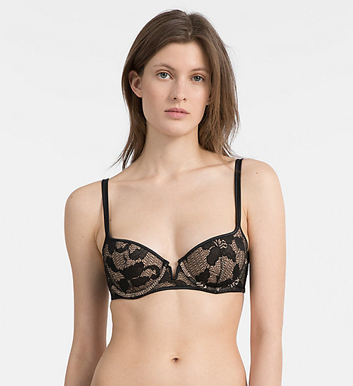 CALVINKLEIN Push-Up Balconette Bra - CK Black Lily Lace - BLACK - CALVIN KLEIN NEW IN - main image