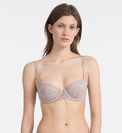CALVINKLEIN Push-Up Balconette Bra - CK Black Lily Lace - SILVER ROSE - CALVIN KLEIN NEW IN - main image