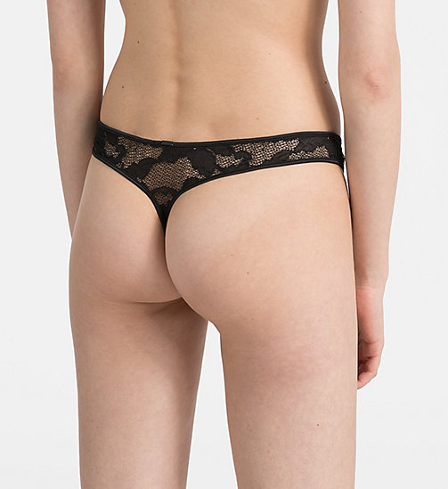CALVINKLEIN Thong - CK Black Lily Lace - BLACK - CALVIN KLEIN NEW FOR WOMEN - detail image 1