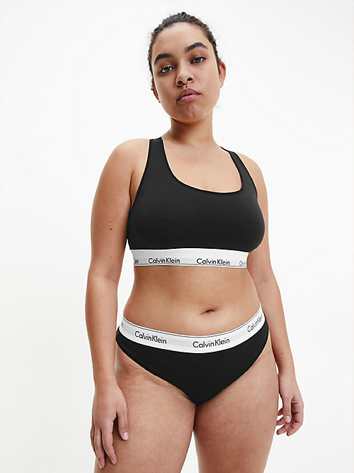 CALVIN KLEIN Thong - Modern Cotton Plus - BLACK - CALVIN KLEIN NEW FOR WOMEN - detail image 1