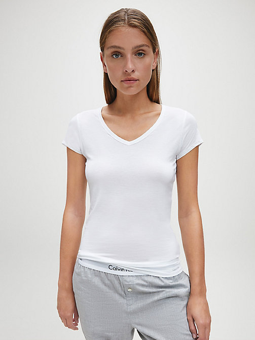 CALVIN KLEIN Top - Cotton Luxe - WHITE - CALVIN KLEIN LOUNGE TOPS - main image