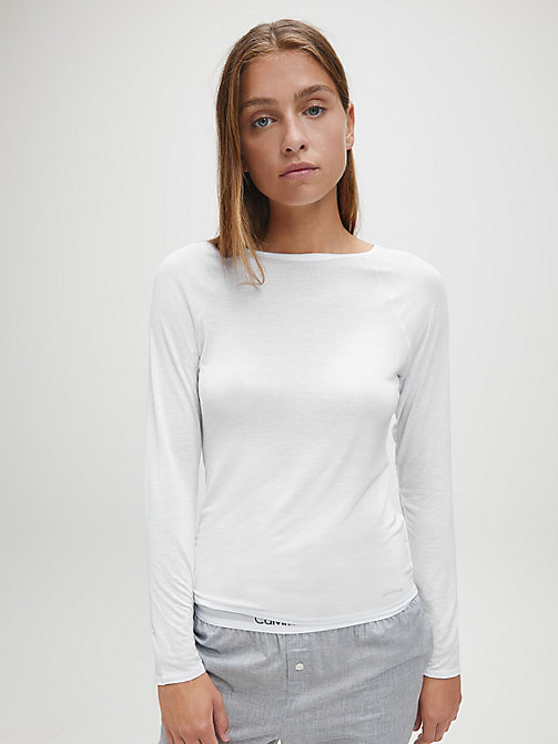 CALVINKLEIN Top - Cotton Luxe - WHITE - CALVIN KLEIN LOUNGE TOPS - main image