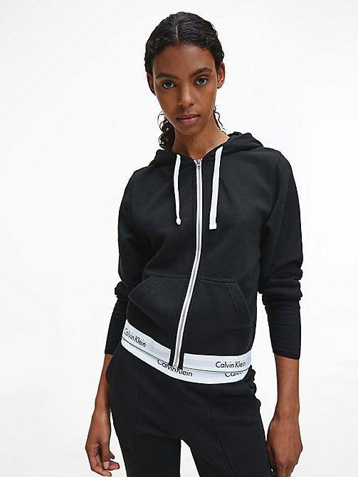 CALVINKLEIN Zip Hoodie - Modern Cotton - BLACK -  PYJAMA TOPS - main image