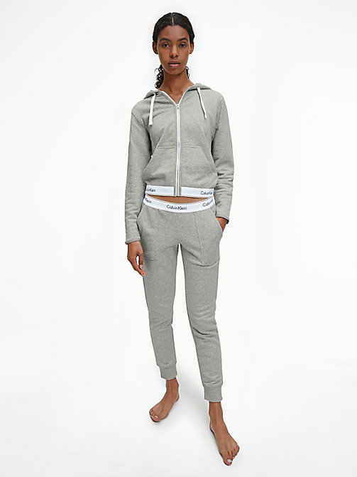 CALVIN KLEIN Zip Hoodie - Modern Cotton - GREY HEATHER - CALVIN KLEIN LOUNGE TOPS - detail image 1