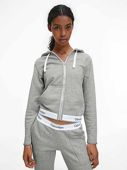 CALVIN KLEIN Zip Hoodie - Modern Cotton - GREY HEATHER - CALVIN KLEIN LOUNGE TOPS - main image