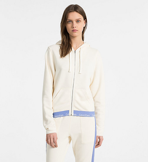 CALVIN KLEIN Zip Hoodie - Modern Cotton - IVORY - CALVIN KLEIN NEW FOR WOMEN - main image