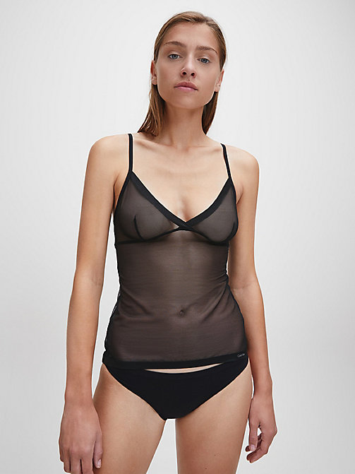 CALVIN KLEIN Sheer Camisole - Sculpted - BLACK - CALVIN KLEIN NIGHTWEAR - main image