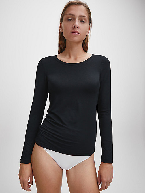 CALVIN KLEIN PJ Top - Sculpted - BLACK - CALVIN KLEIN NIGHTWEAR - main image