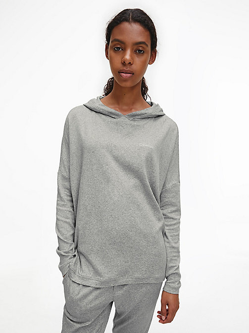 CALVIN KLEIN Hoodie - CK Form - GREY HEATHER - CALVIN KLEIN LOUNGE TOPS - main image