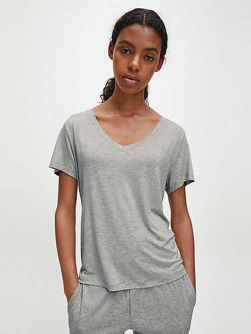 CALVIN KLEIN Logo T-Shirt - CK Form - GREY HEATHER - CALVIN KLEIN LOUNGE TOPS - main image