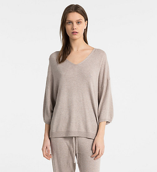 CALVIN KLEIN V-Neck Top - NATURAL HEATHER - CALVIN KLEIN LOUNGE TOPS - main image