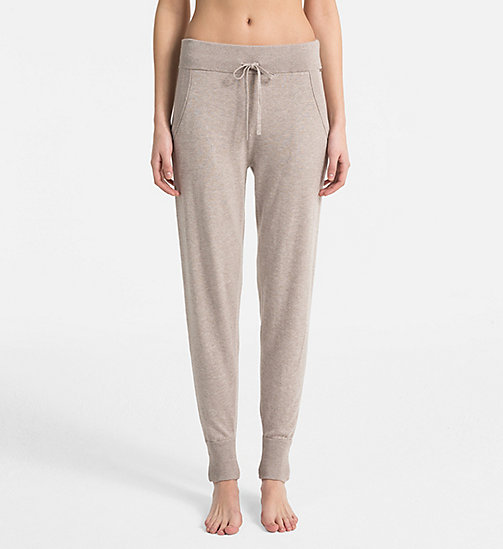 CALVIN KLEIN Knitted Joggers - NATURAL HEATHER - CALVIN KLEIN LOUNGE PANTS - main image