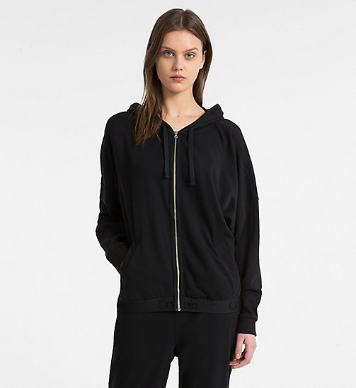 CALVIN KLEIN Zip Through Hoodie - Tonal Logo - BLACK - CALVIN KLEIN TONAL LOGO - main image