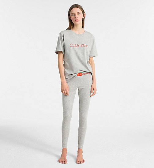 CALVIN KLEIN Logo T-Shirt - Monogram - GREY HEATHER - CALVIN KLEIN NEW FOR WOMEN - detail image 1