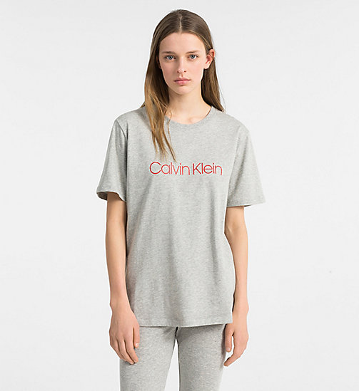 CALVIN KLEIN Logo T-Shirt - Monogram - GREY HEATHER - CALVIN KLEIN NEW FOR WOMEN - main image