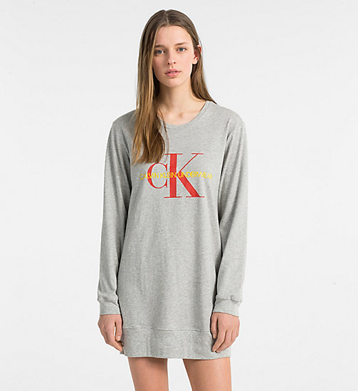 CALVINKLEIN Logo Nightshirt - Monogram - GREY HEATHER - CALVIN KLEIN NEW FOR WOMEN - main image
