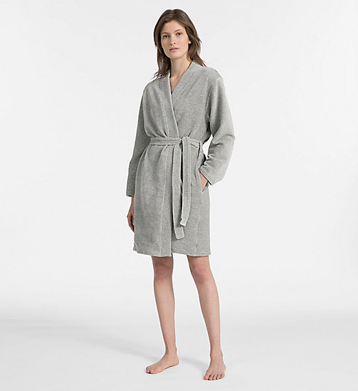 CALVINKLEIN Quilted Robe - GREY HEATHER - CALVIN KLEIN ALL GIFTS - main image