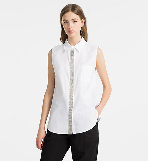 CALVINKLEIN Embellished Sleeveless Shirt - WHITE - CALVIN KLEIN CLOTHES - main image