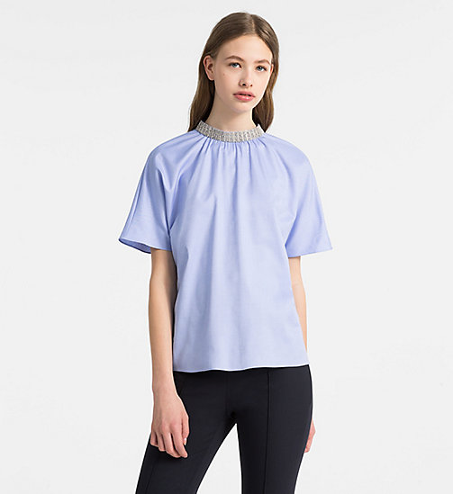 CALVINKLEIN Embellished Short-Sleeve Top - FRENCH BLUE - CALVIN KLEIN CLOTHES - main image
