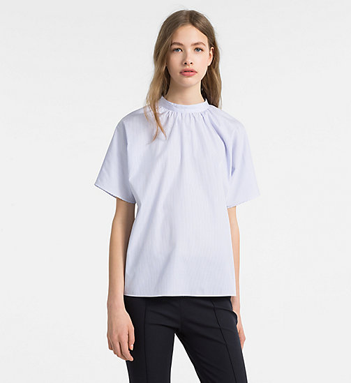 CALVINKLEIN Short-Sleeve Stripe Top - FRENCH BLUE - CALVIN KLEIN TOPS - main image