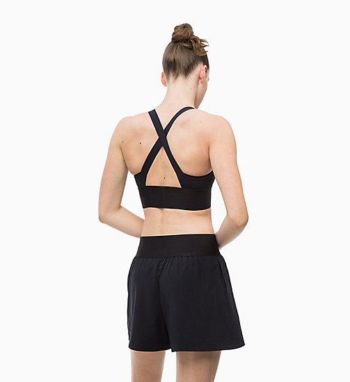 CALVINKLEIN Medium Impact Strappy Sports Bra - CK BLACK - CALVIN KLEIN NEW FOR WOMEN - detail image 1