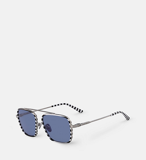 CALVINKLEIN Square Sunglasses CK18102S - WHITE/BLACK STRIPES - CALVIN KLEIN SUNGLASSES - detail image 1