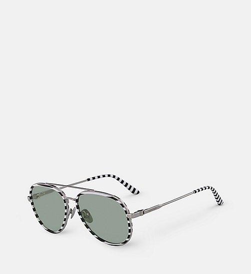 CALVINKLEIN Aviator Sunglasses CK18103S - WHITE/BLACK STRIPES - CALVIN KLEIN SUNGLASSES - detail image 1