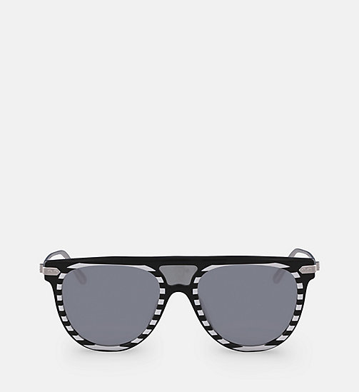 CALVINKLEIN Aviator Sunglasses CK18703S - BLACK/STRIPES -  SUNGLASSES - main image