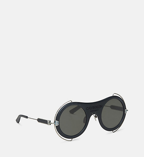 CALVIN KLEIN COLLECTION Round Metal Trim 205W39NYC Logo Sunglasses - MATTE BLACK - CALVIN KLEIN COLLECTION EYEWEAR - detail image 1