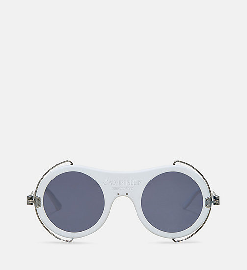 CALVIN KLEIN COLLECTION Round Metal Trim 205W39NYC Logo Sunglasses - MATTE WHITE - CALVIN KLEIN COLLECTION EYEWEAR - main image