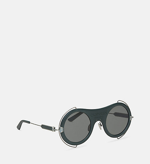 CALVIN KLEIN COLLECTION Round Metal Trim 205W39NYC Logo Sunglasses - MATTE FOREST GREEN - CALVIN KLEIN COLLECTION EYEWEAR - detail image 1