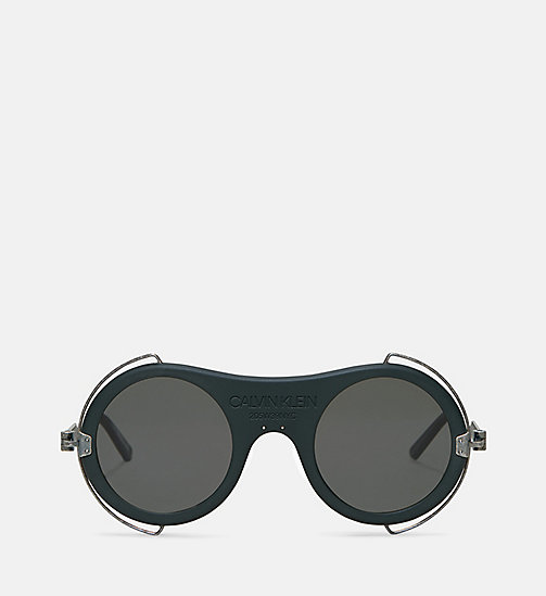 CALVIN KLEIN COLLECTION Round Metal Trim 205W39NYC Logo Sunglasses - MATTE FOREST GREEN - CALVIN KLEIN COLLECTION EYEWEAR - main image