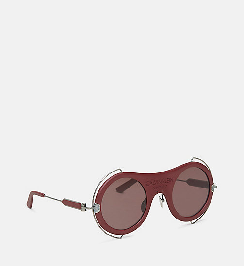 CALVIN KLEIN COLLECTION Round Metal Trim 205W39NYC Logo Sunglasses - MATTE BURGUNDY - CALVIN KLEIN COLLECTION EYEWEAR - detail image 1