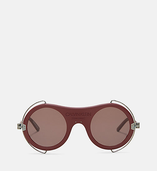 CALVIN KLEIN COLLECTION Round Metal Trim 205W39NYC Logo Sunglasses - MATTE BURGUNDY - CALVIN KLEIN COLLECTION EYEWEAR - main image