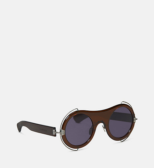 CALVIN KLEIN COLLECTION Round Metal Trim Sunglasses - CRYSTAL BROWN - CALVIN KLEIN COLLECTION EYEWEAR - detail image 1