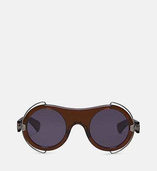 CALVIN KLEIN COLLECTION Round Metal Trim Sunglasses - CRYSTAL BROWN - CALVIN KLEIN COLLECTION EYEWEAR - main image