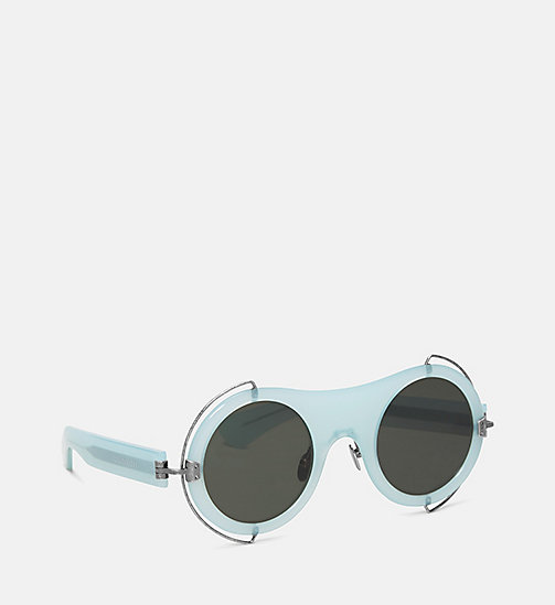 CALVIN KLEIN COLLECTION Round Metal Trim Sunglasses - MILKY LIGHT GREEN - CALVIN KLEIN COLLECTION EYEWEAR - detail image 1