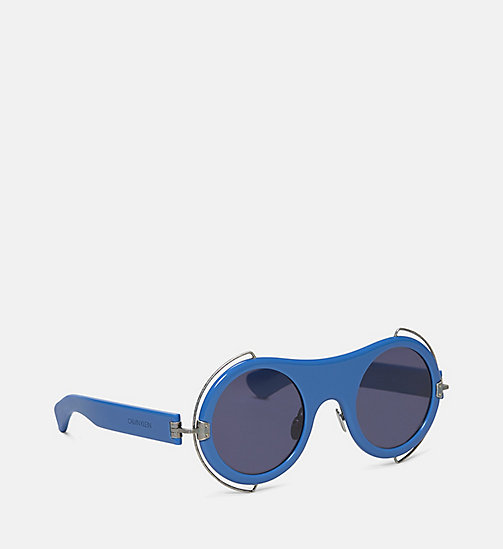 CALVIN KLEIN COLLECTION Round Metal Trim Sunglasses - CORNFLOWER BLUE - CALVIN KLEIN COLLECTION EYEWEAR - detail image 1