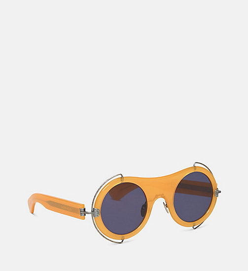 CALVIN KLEIN COLLECTION Round Metal Trim Sunglasses - MILKY ORANGE - CALVIN KLEIN COLLECTION EYEWEAR - detail image 1