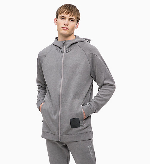 CALVIN KLEIN Zip Through Hoodie - MEDIUM GREY HEATHER - CALVIN KLEIN SPORT - main image