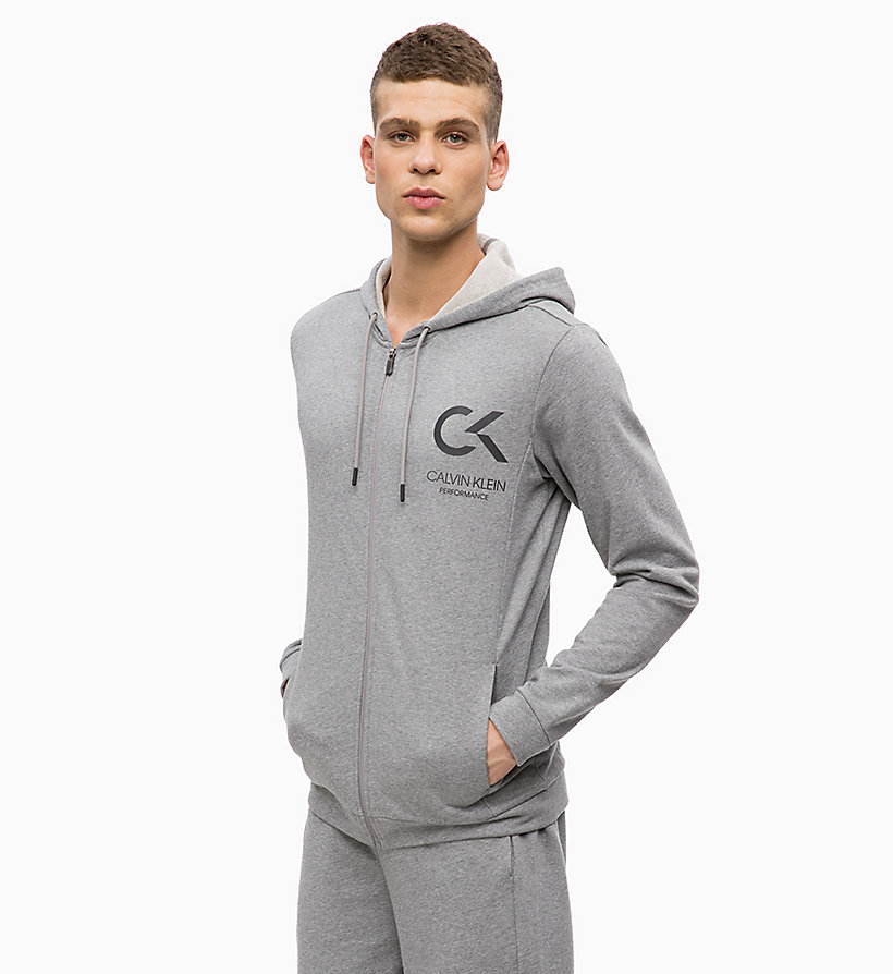 CALVIN KLEIN Zip Through Hoodie - EVENING BLUE - CALVIN KLEIN PERFORMANCE - main image