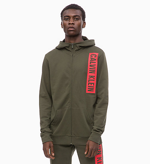 CALVIN KLEIN Zip Through Logo Hoodie - FOREST NIGHT - CALVIN KLEIN SPORT - main image