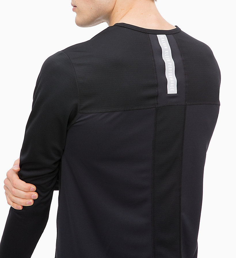 CALVIN KLEIN Mesh Panel Long Sleeve Technical Top - BRIGHT WHITE - CALVIN KLEIN PERFORMANCE - detail image 2