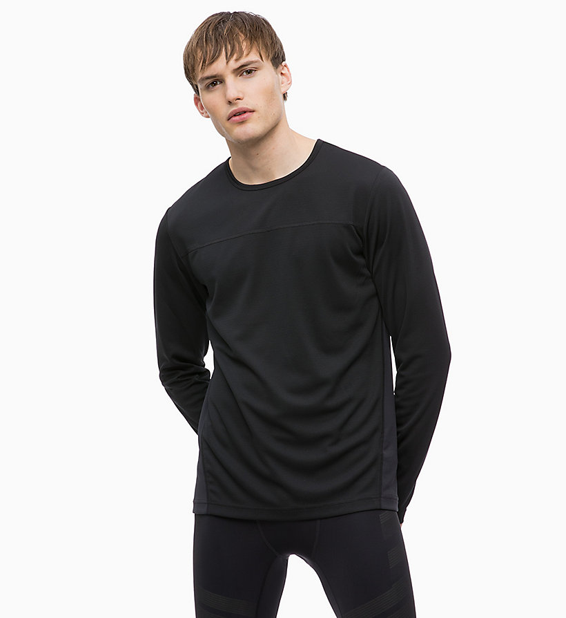 CALVIN KLEIN Mesh Panel Long Sleeve Technical Top - BRIGHT WHITE - CALVIN KLEIN PERFORMANCE - main image
