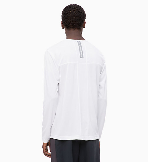 CALVINKLEIN Mesh Panel Long Sleeve Technical Top - BRIGHT WHITE - CALVIN KLEIN WORKOUT - detail image 1