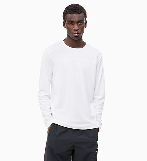CALVINKLEIN Mesh Panel Long Sleeve Technical Top - BRIGHT WHITE - CALVIN KLEIN WORKOUT - main image