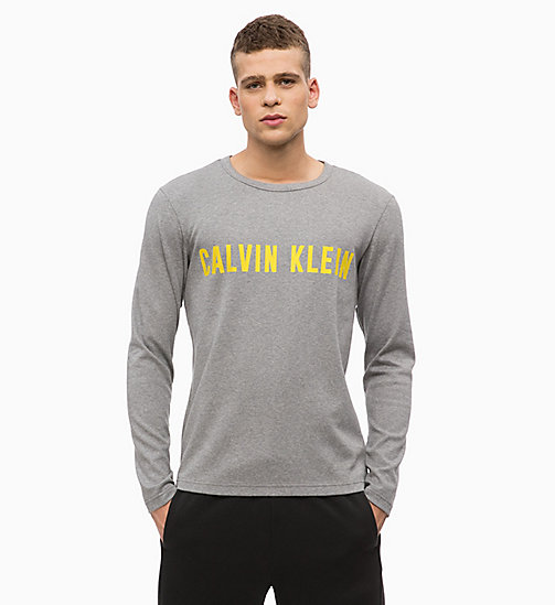 CALVIN KLEIN Logo Long Sleeve T-shirt - MEDIUM GREY HEATHER - CALVIN KLEIN SPORT - main image