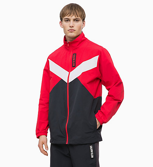 CALVIN KLEIN Zip-Through Tracksuit Jacket - RACING RED/GUNMETAL/CK BLACK - CALVIN KLEIN SPORT - main image