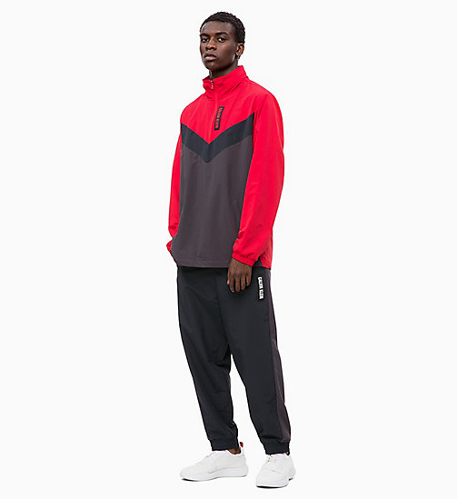 CALVIN KLEIN Half-Zip Tracksuit Jacket - RACING RED/GUNMETAL/CK BLACK -  SPORT - detail image 1